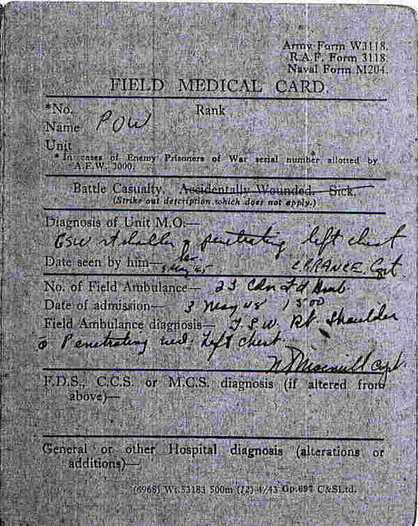 Field Medical Card Otto Krusemark